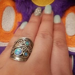 Jewelry - Israel 925 Opal Turquoise Sky Blue Sterling Ring